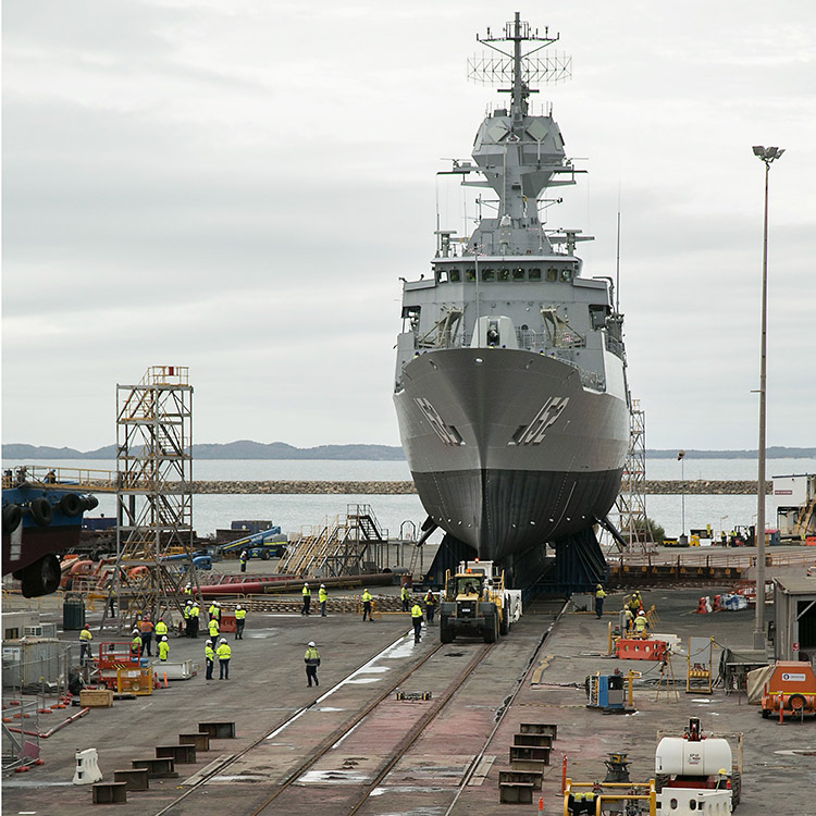 HMAS Warramunga Undocking