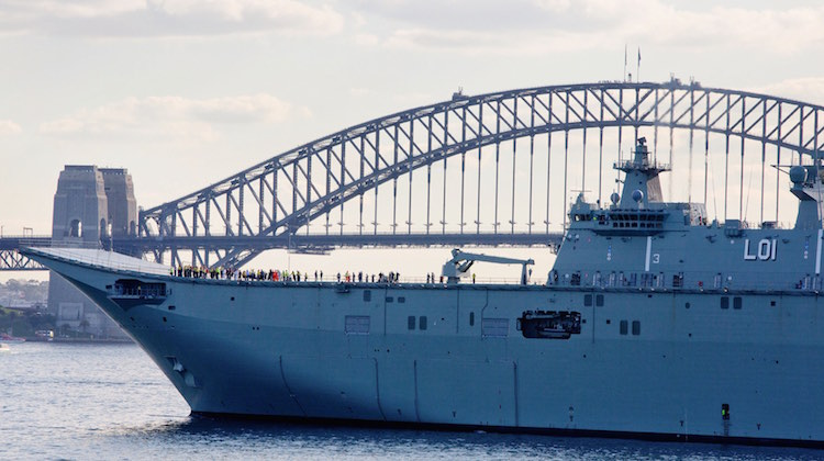 NUSHIP Adelaide enters Sydney Harbour
