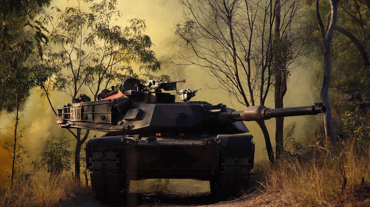An Australian Army M1 Abrams tank joins the assault onto the Palmers Ridge complex during Exercise Talisman Sabre 2015 at Shoalwater Bay, Queensland.