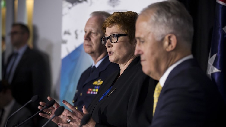 Minister for Defence, the Hon Marise Payne, MP, speaking to the press after the launch of the 2016 Defence White Paper at the Australian Defence Force Academy (ADFA) in Canberra.