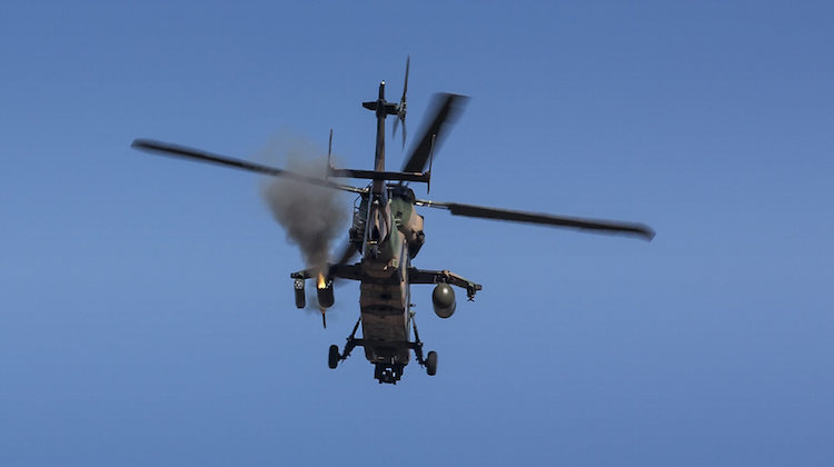 A Eurocopter Tiger armed reconnaissance helicopter (ARH) fires at a target during Exercise Jericho Dawn held at Puckapunyal, Victoria.