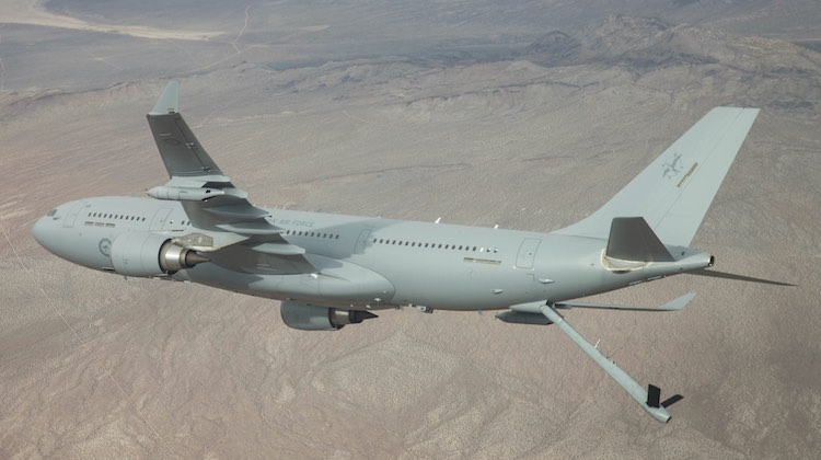 A Royal Australian Air Force KC-30A Multi-Role Tanker Transport during boom refuelling trials in the United States.