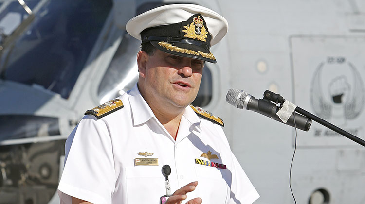 Commander Fleet Air Arm, Commodore Vince Di Pietro CSC, RAN, addresses personnel from the Fleet Air Arm on the introduction of the MH60R Seahawk helicopter and the positive impact it will have on RAN's war-fighting capability.