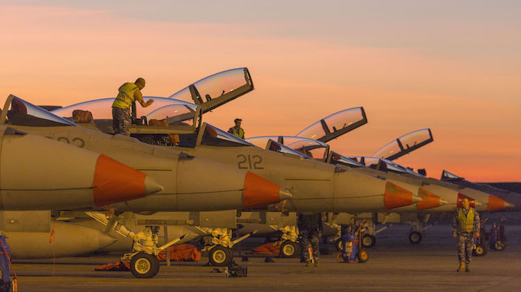 F/A-18F Super Hornets from No 1 Squadron sit on the Tarmac prior to the day's mission at RAAF Base Darwin, during Exercise Pitch Black 16.