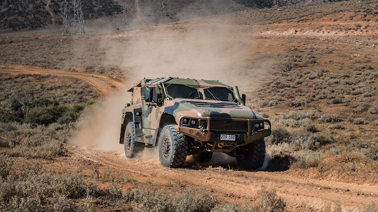 An Australian Army Hawkei protected mobility vehicle, one of the Army's new generation of combat vehicles, during Exercise Predator's Gallop in Cultana training area, South Australia, on 12 March 2016.