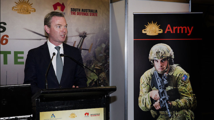 Minister for Defence Industry, the Hon Christopher Pyne, MP, addresses the Land Forces 2016 audience at the Adelaide Convention Centre on 7 September 2016.