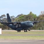 The third C-27J Spartan for No. 35 Squadron, A34-003, touches down at RAAF Base Richmond on its delivery flight.