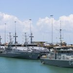Royal Australian Navy Armidale Class Patrol Boats sit with Pacific Class Patrol Boats, HMPNGS Moresby and Seeadler, alongside at HMAS Coonawarra at the start of Exercise Kakadu 2016.