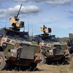 Bushmaster Protected Mobility Vehicles as used Direct Fire Support Weapons (DWFS) platoon of the 1st Battalion Royal Australian Regiment, at High Range Training Area, Queensland.
