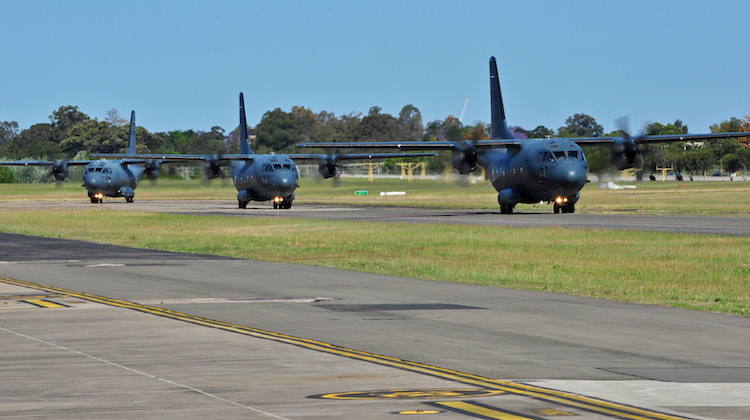Three C-27J Spartan aircraft from No 35 Squadron taxi back to the flight line. This small milestone marks the first time all three Spartan aircraft have flown together, since the arrival of the third Spartan at RAAF Base Richmond on 18 October, 2016.