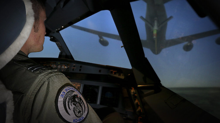 Operating from the CAE KC-30 simulator at RAAF Amberley, a No. 33 Squadron pilot approaches a United States KC-135 simulated aircraft.