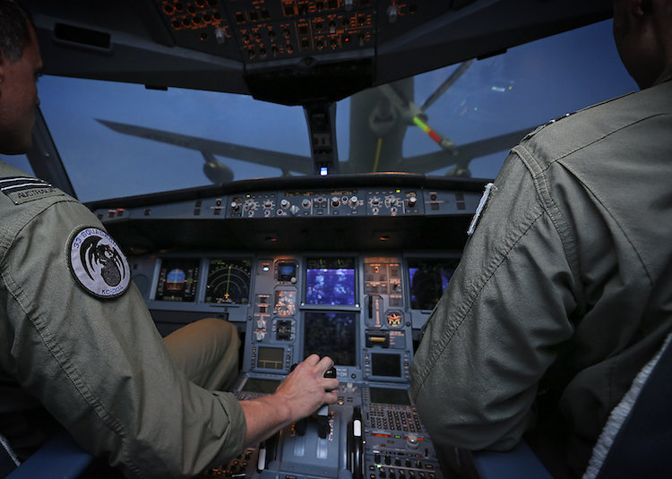 Operating from the CAE KC-30 simulator at RAAF Amberley, No. 33 Squadron pilots approach a United States KC-135 simulated aircraft.