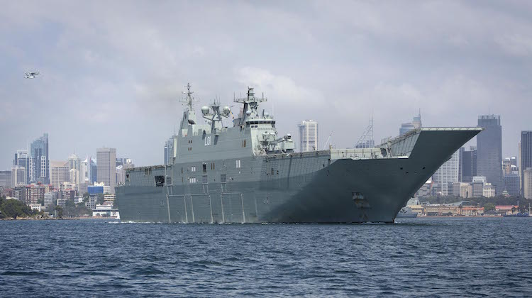 HMAS Adelaide leaves Sydney Harbour to take part in Exercise OCEAN RAIDER, one of the Royal Australian Navy's largest maritime warfare activities.