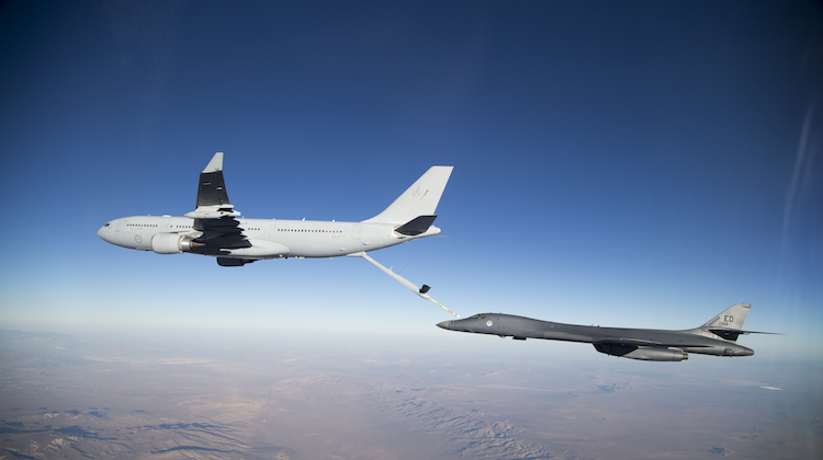 Air-to-air refuelling trials between the KC-30A Multi-Role Tanker Transport and United States Air Force B-1B Lancer.