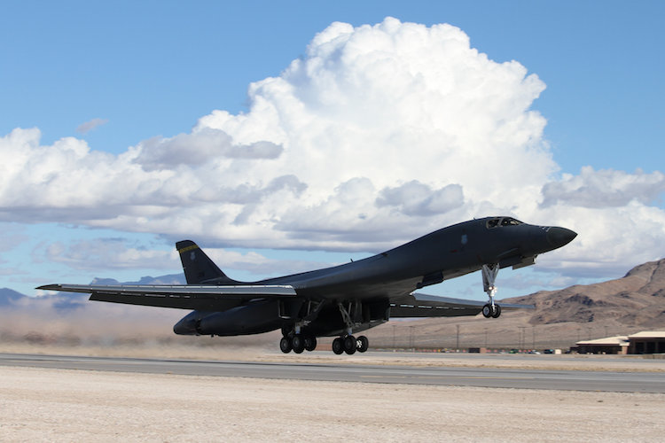 A United States Air Force B-1B Lancer lifts off the runway at Nellis Air Force Base during Exercise Red Flag 17-1.