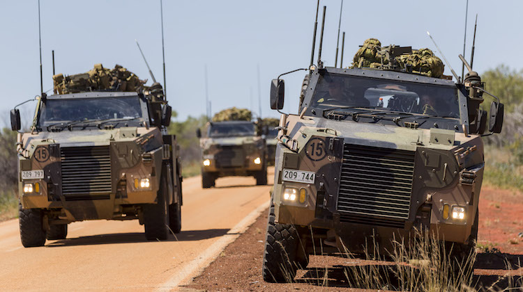 Australian Army Bushmasters travel along the Derby Highway en-route to Broome during Exercise Northern Shield 2016.