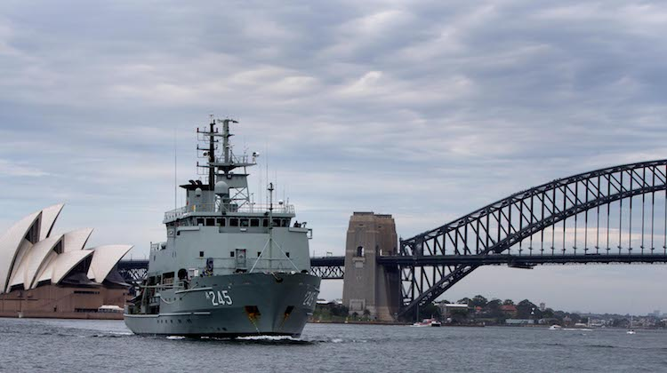Hydrographic Survey Ship HMAS Leeuwin sails into Sydney Harbour.