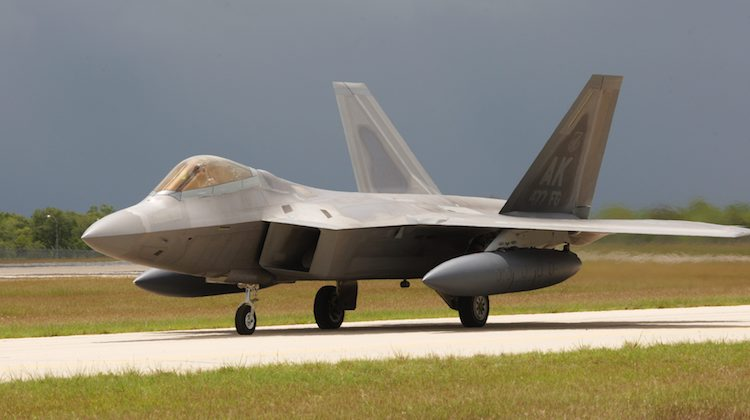 A United States Air Force F-22 aircraft arrives at RAAF Base Tindal in the Northern Territory, ahead of the first Enhanced Air Cooperation activity in Australia