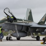 A No. 3 Squadron Pilot hands his F/A-18A over to the technicians on completion of the first day of missions during Exercise Cope North.