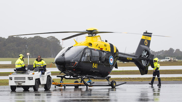 The EC-135T2 Helicopter conducts flight trials at HMAS Albatross.