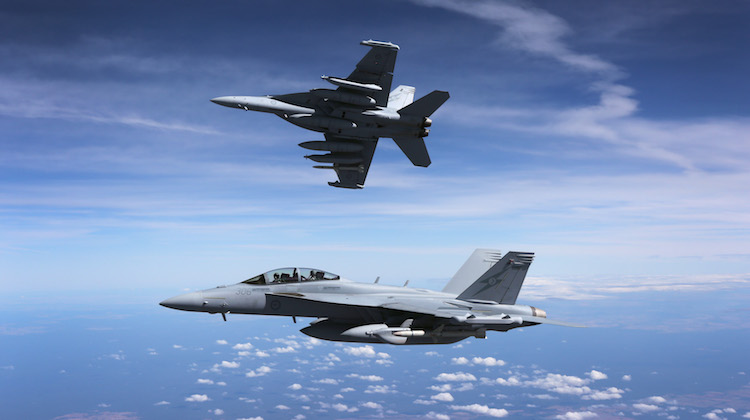 A pair of Royal Australian Air Force EA-18G Growlers en route to the Australian Air Show in Avalon.