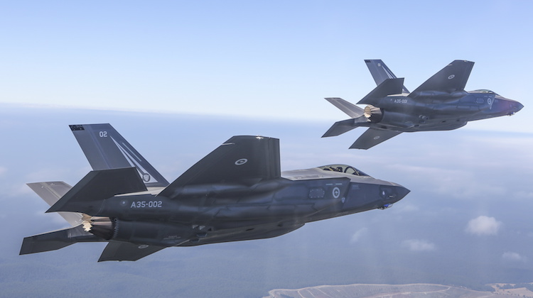 Australias first F-35A Lightning II aircraft 01 and 02 on transit to the Australian International Airshow in Avalon.