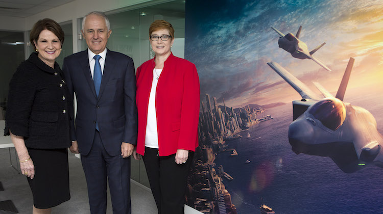 Lockheed Martin Chief Executive Officer, Ms Marillyn Hewson, Prime Minister of Australia, the Honourable Malcolm Turnbull MP and Minister for Defence, Senator the Honourable Marise Payne at the Lockheed Martin Business Suite at the Avalon International Airshow.