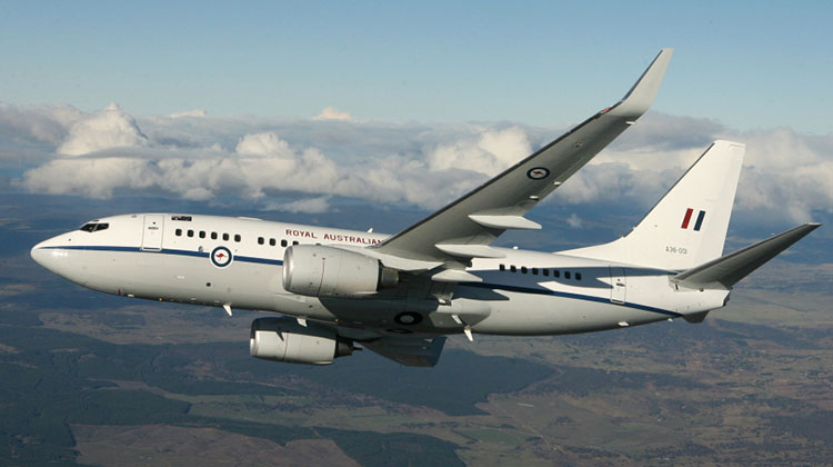 Air to Air of A36-001 Boeing 737 BBJ over Canberra. Photo by LACW Sonja Inderwisch