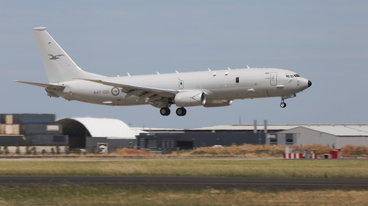 A47-001 the first RAAF Poseidon aircraft comes in to land at its home Base, RAAF Base Edinburgh for the first time.