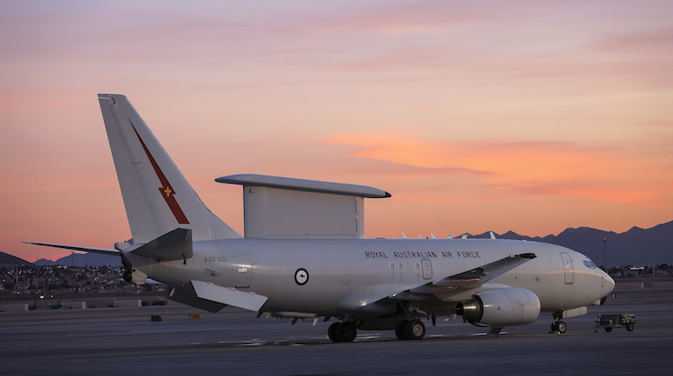 An E-7A Wedgetail of the Royal Australian Air Force (RAAF) on the flightline at Nellis Air Force Base during Exercise Red Flag 17-1.