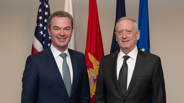 Defense Secretary Jim Mattis stands with Australia's Minister for Defence Industry Christopher Pyne before an office call at the Pentagon in Washington, D.C., April 6, 2017. (DOD photo by U.S. Army Sgt. Amber I. Smith)