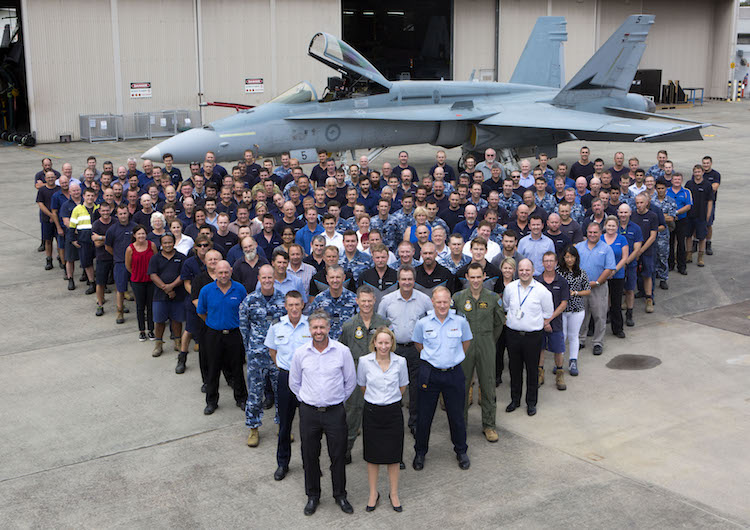 Classic Hornet Deeper Maintenance Program personnel at RAAF Base Williamtown.