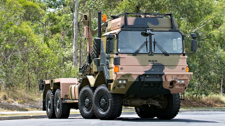 A newly delivered Rheinmetall MAN - HX77 vehicle outside the Penske Corporation facility in Wacol, Queensland.