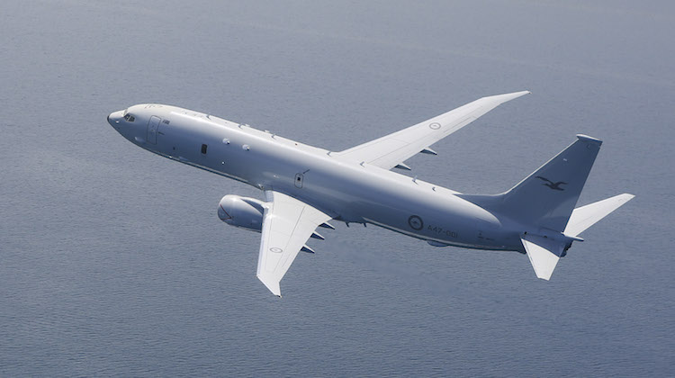The Royal Australian Air Force's first P-8A Poseidon fly's down the St Vincent Gulf coastline near Adelaide in South Australia.