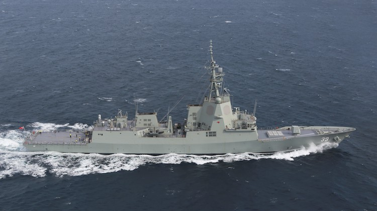 NUSHIP Hobart conducts sea trials in the Gulf St Vincent off the coast of Adelaide South Australia.