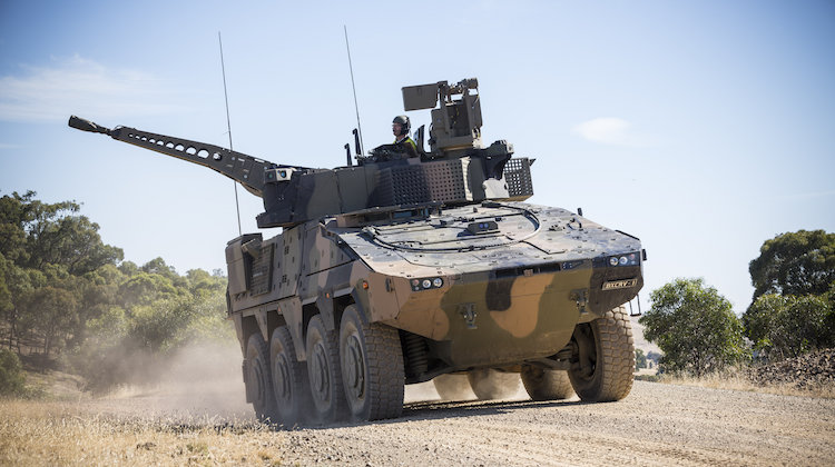 A Rheinmetall Boxer CRV drives off of the Armoured Fighting Vehicle Field Firing Training Area at Puckapunyal Range, Victoria, while participating in the Land 400 Risk Mitigation Activity on 22 February 2017.