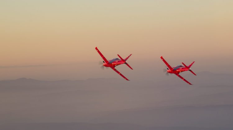 Stock image of a PC-21 aircraft supplied by Lockheed Martin and Pilatus.""