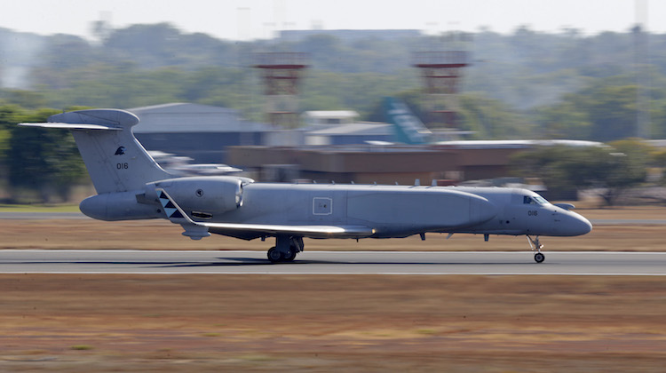 A Republic of Singapore Air Force G550 Conformal Airborne Early Warning (CAEW) aircraft lands at RAAF Base Darwin as part of Exercise Pitch Black 2016.