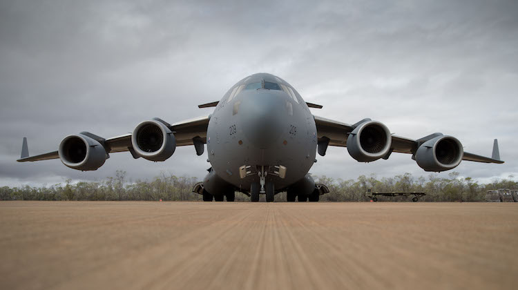 An Australian C-17A Globemaster III aircraft arrives at RAAF Base Curtin in northern Western Australia on 28 August 2016 with two Australian Army S-70 Black Hawk helicopters onboard in preparation for Exercise Northern Shield.