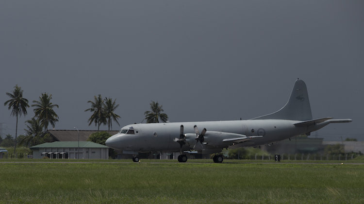 A Royal Australian Air Force AP-3C Orion takes off from RMAF Butterworth, Malaysia during Exercise Bersama Shield 17.