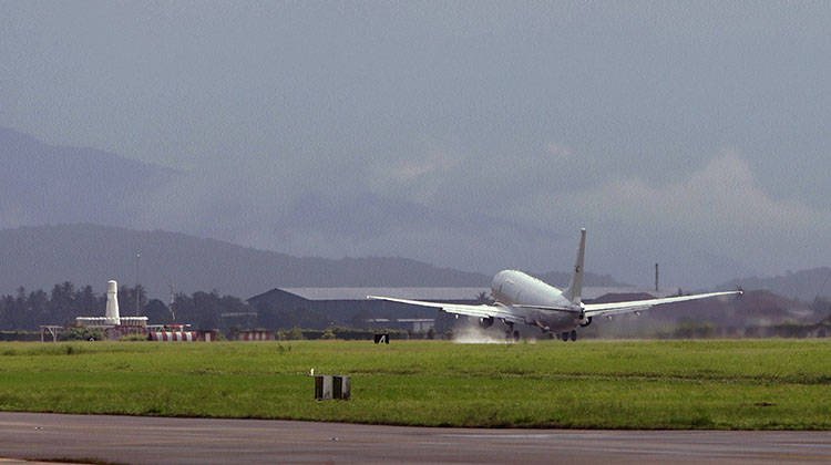 A P-8A Poseidon takes off from Royal Malaysian Air Force Base Butterworth in support of Operation GATEWAY