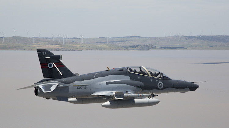 An A27 Hawk 127 operated by No 76 Squadron participates in a training activity over Lake George in the Australian Capital Territory.