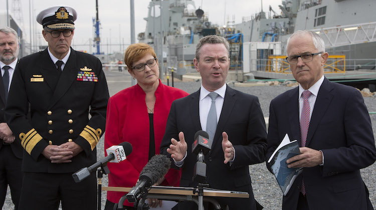 Minister for Defence Industry, the Honourable Christopher Pyne MP (centre right) at the announcement of the Naval Shipbuilding Plan in the presence of Acting Chief of the Defence Force, Vice Admiral Ray Griggs, AO, CSC, RAN (left), Minister for Defence, Senator the Honourable Marise Payne, and the Prime Minister of Australia, the Honourable Malcolm Turnbull.