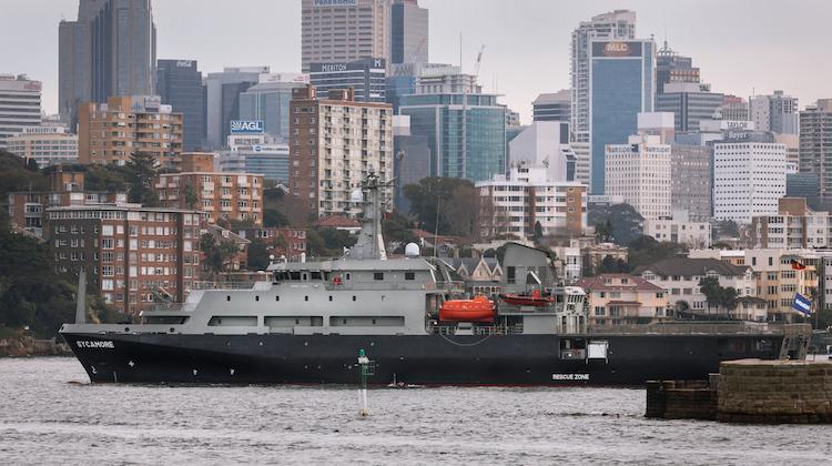 MV Sycamore multi-role aviation training vessel (MATV) entering Sydney Harbour.