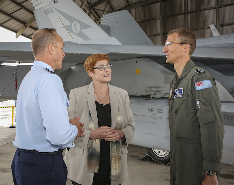 Minister for Defence, Senator the Honourable Marise Payne with Air Commander Australia, Air Vice Marshal Steven Roberton, DSC, AM (left) and Commanding Officer No. 6 Squadron, Wing Commander Grant Fifield during the welcoming of the full fleet of EA-18G Growlers to RAAF Base Amberley.