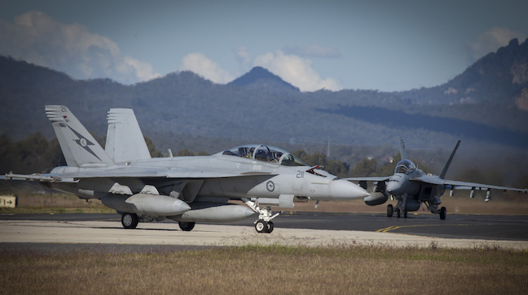 RAAF F/A-18F Super Hornets from No 1 Squadron taxies at RAAF Base Amberley.