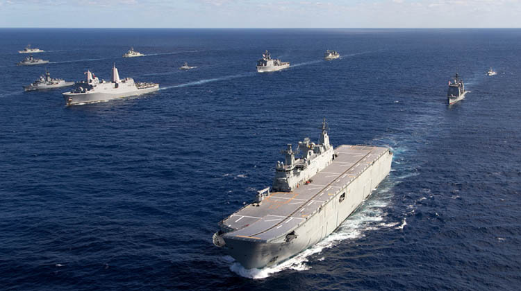 HMAS Canberra forms up with Navy Ships from United States of America and New Zealand on completion of Exercise Talisman Saber 17.