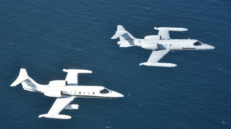 Raytheon Australia and Air Affairs Australia Lear Jets flying in formation (1)