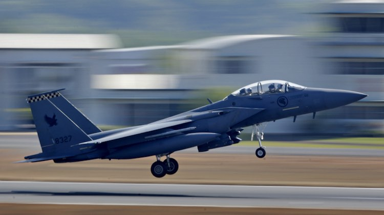 A Republic of Singapore Air Force F-15 takes off from RAAF Base Darwin as part of Exercise Pitch Black 2016.