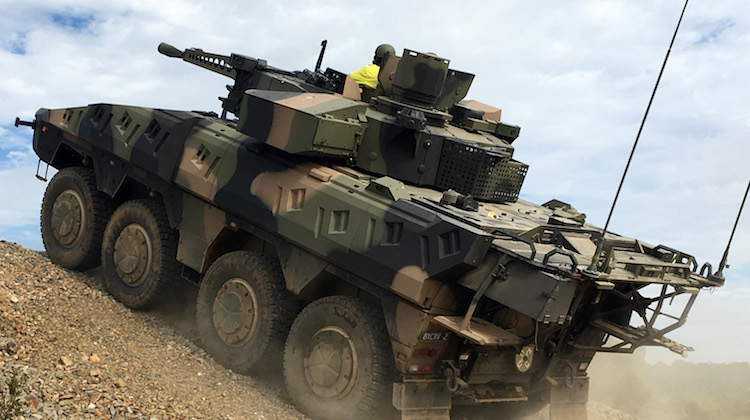 Rheinmetall Boxer CRV negotiating obstacles on the Driver Training Circuit at Puckapunyal.